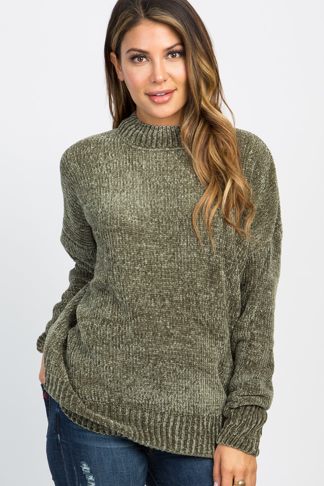 Olive Ribbed Chenille Knit Maternity Sweater