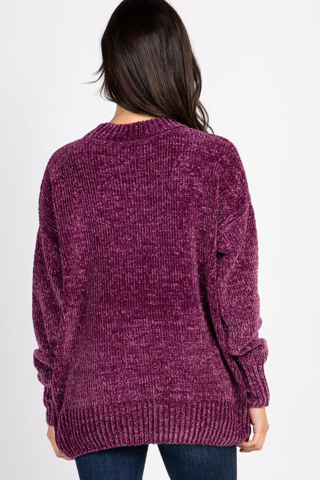 Plum Ribbed Chenille Knit Maternity Sweater