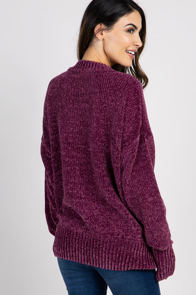 Plum Mock Neck Chenille Knit Maternity Sweater