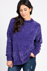 Purple Mock Neck Chenille Knit Maternity Sweater