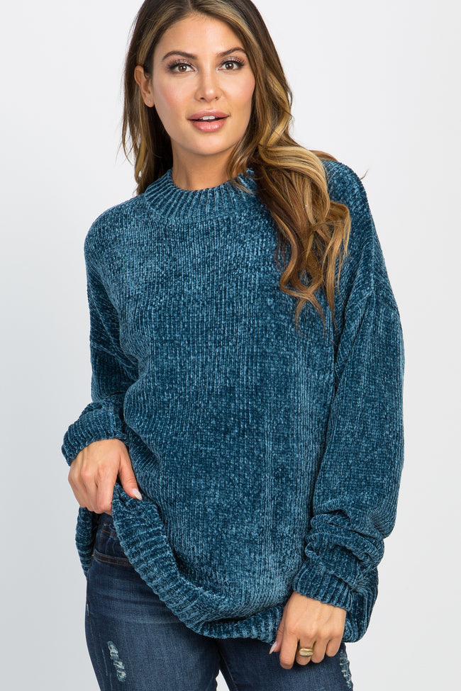 Teal Ribbed Chenille Knit Maternity Sweater