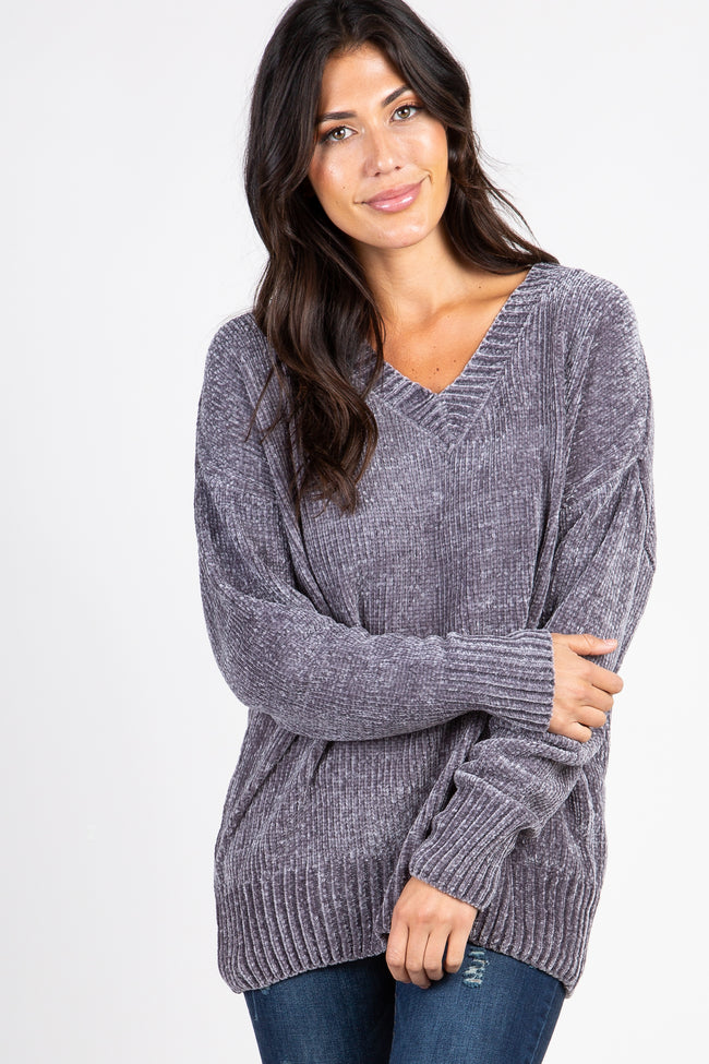 Charcoal Chenille Knit V-Neck Sweater