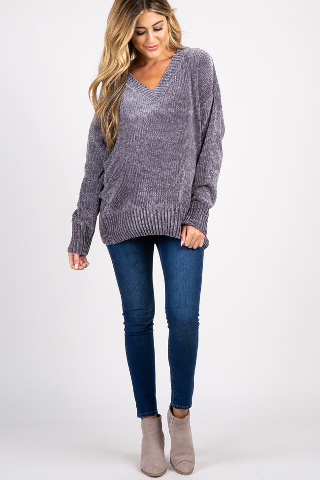 Charcoal Chenille Knit V-Neck Maternity Sweater