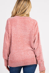 Pink Chenille Knit V-Neck Maternity Sweater