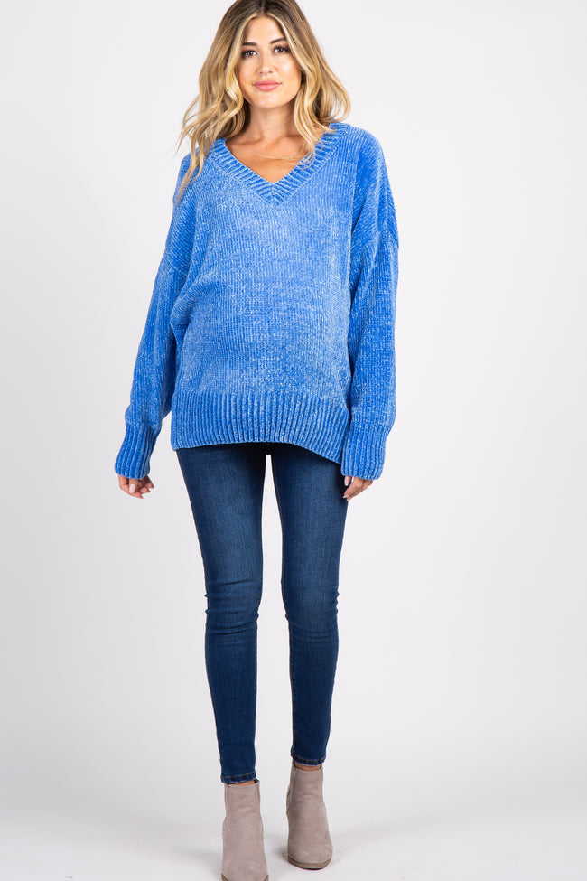 Blue Chenille Knit V-Neck Maternity Sweater