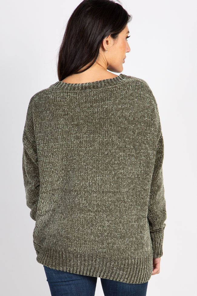 Olive Chenille Knit V-Neck Sweater