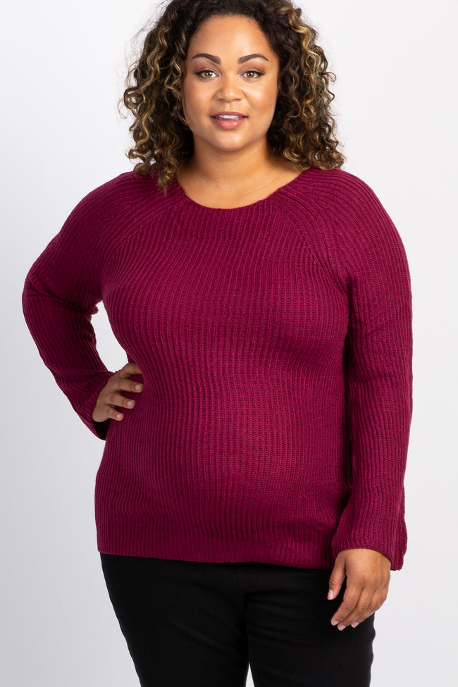 Burgundy Cutout Back Maternity Plus Sweater