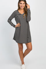Black Striped Pocket Shift Dress