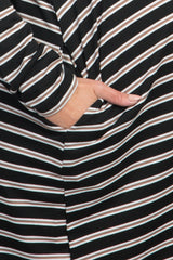 Black Striped Maternity Shift Dress