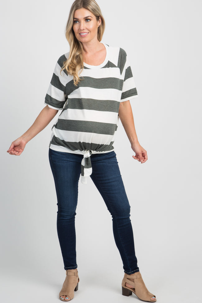 Olive Striped Short Sleeve Knot Front Maternity Top