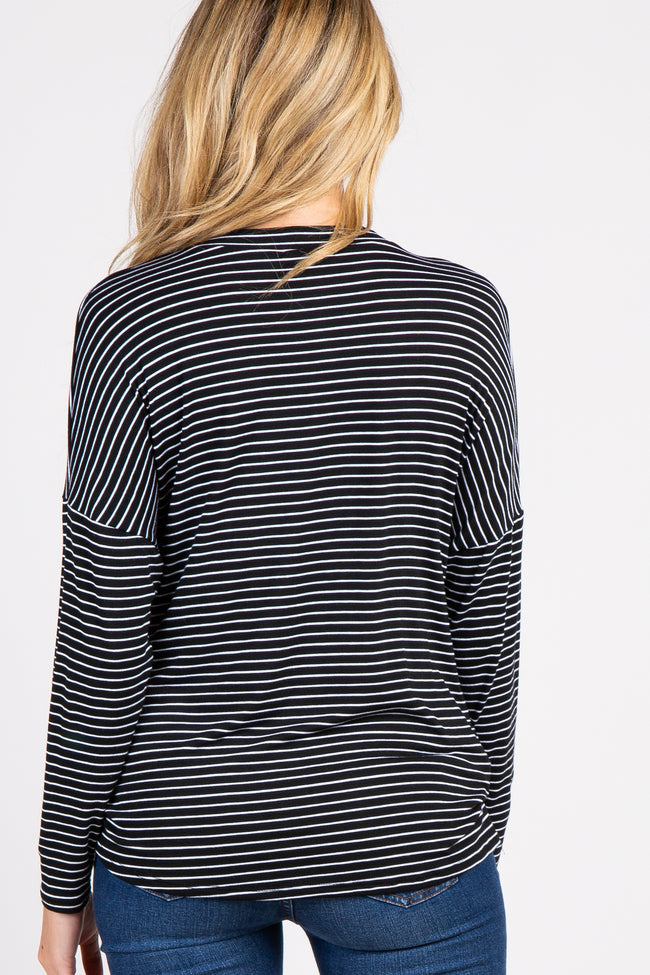 Black Striped Dolman Sleeve Draped Maternity Top
