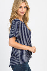 Navy Pinstriped Knotted Hem Dolman Sleeve Top
