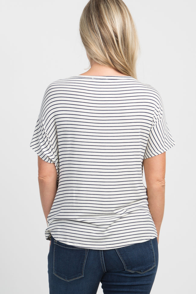Ivory Pinstriped Knotted Hem Dolman Sleeve Maternity Top
