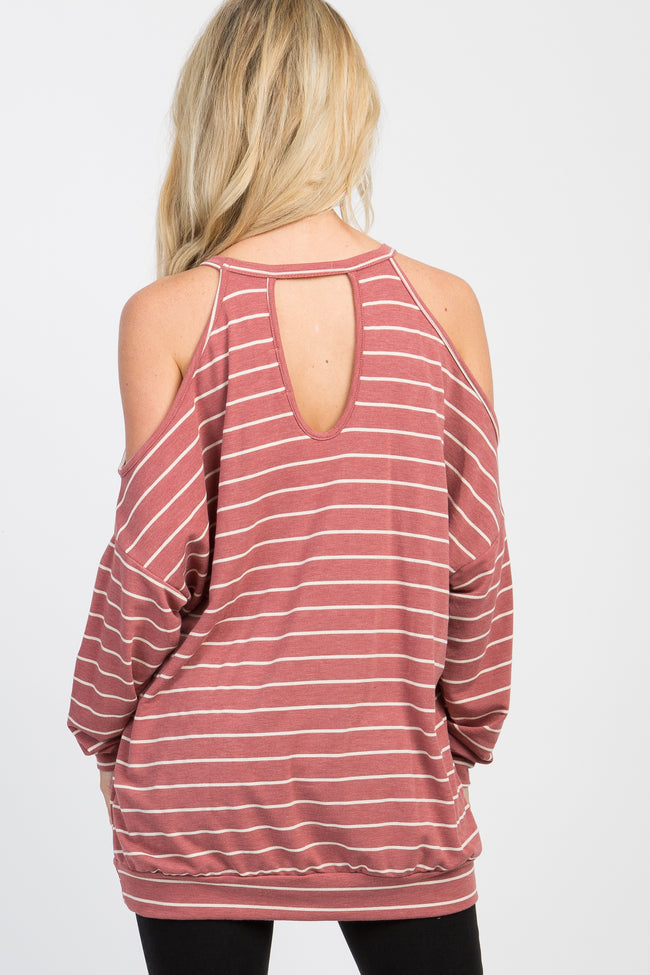 Mauve Striped Cold Shoulder Long Sleeve Halter Neck Top