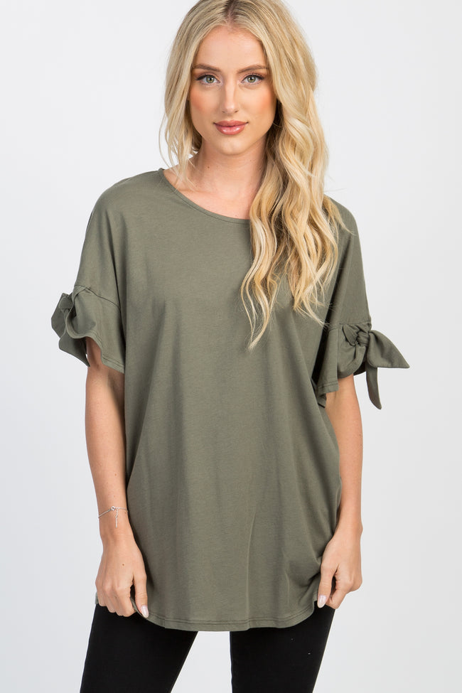 Olive Solid Ruffle Accent Sleeve Tie Maternity Top