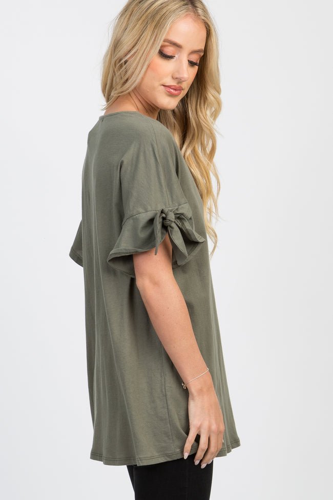 Olive Solid Ruffle Accent Sleeve Tie Top