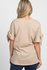 Taupe Solid Ruffle Accent Sleeve Tie Maternity Top