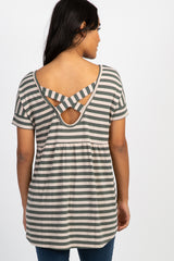 Olive Striped Crisscross Peplum Back Maternity Top