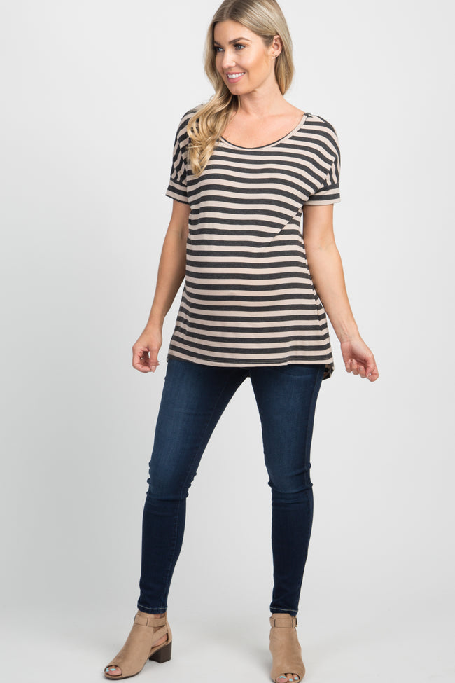 Taupe Striped Crisscross Peplum Back Maternity Top