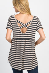 Taupe Striped Crisscross Peplum Back Top