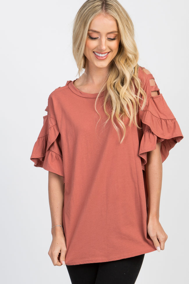 Rust Cutout Cold Shoulder Ruffle Sleeve Top