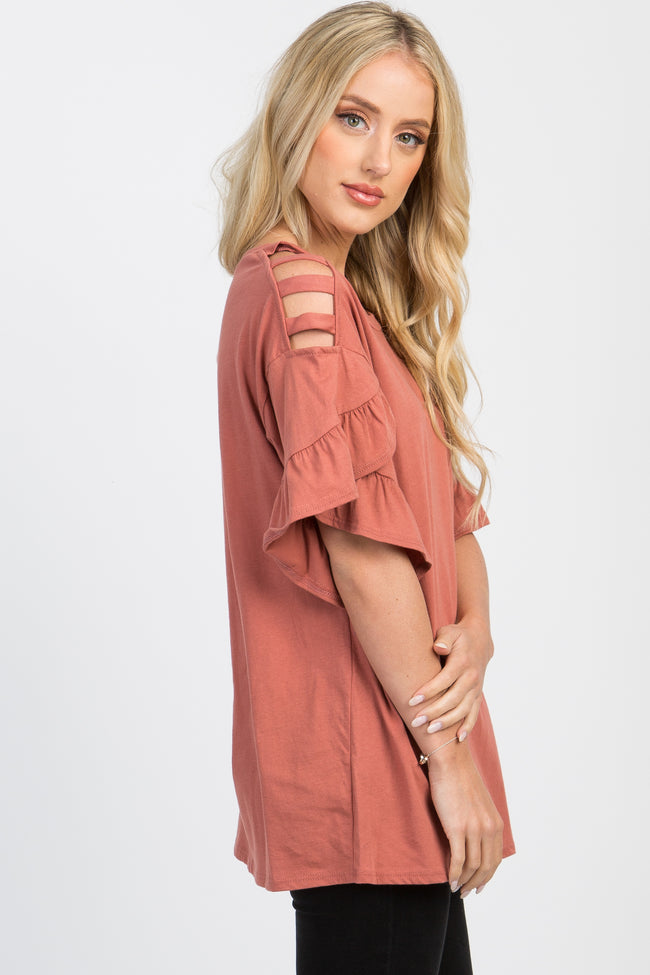 Rust Cutout Cold Shoulder Ruffle Sleeve Maternity Top