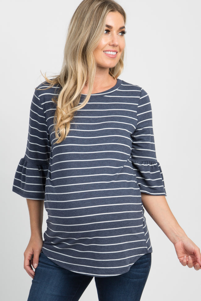 Navy Blue Striped 3/4 Ruffle Sleeve Maternity Top