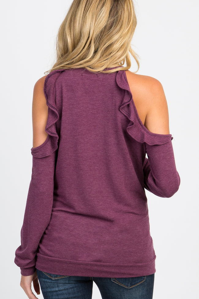 Purple Cold Shoulder Ruffle Accent Halter Neck Maternity Top