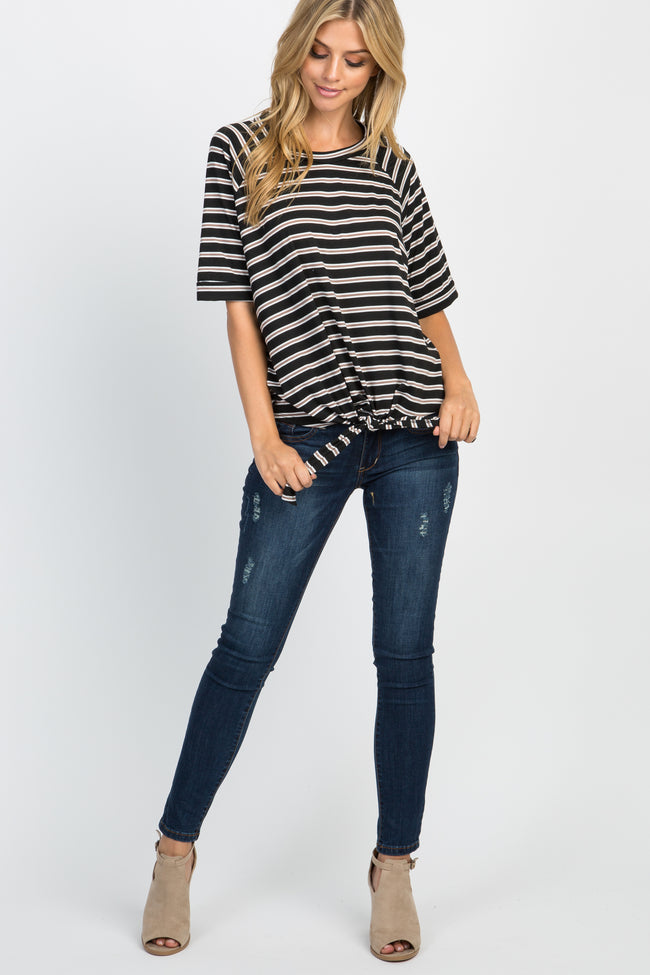 Black Multi-Color Striped Front Tie Top
