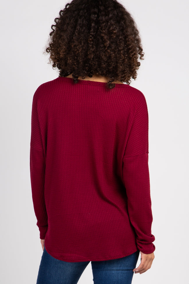 Burgundy Waffle Knit Button Tie Front Maternity Top