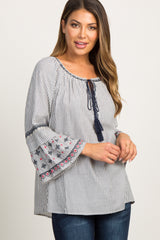 Blue Striped Tassel Tie Embroidered Bell Sleeve Top
