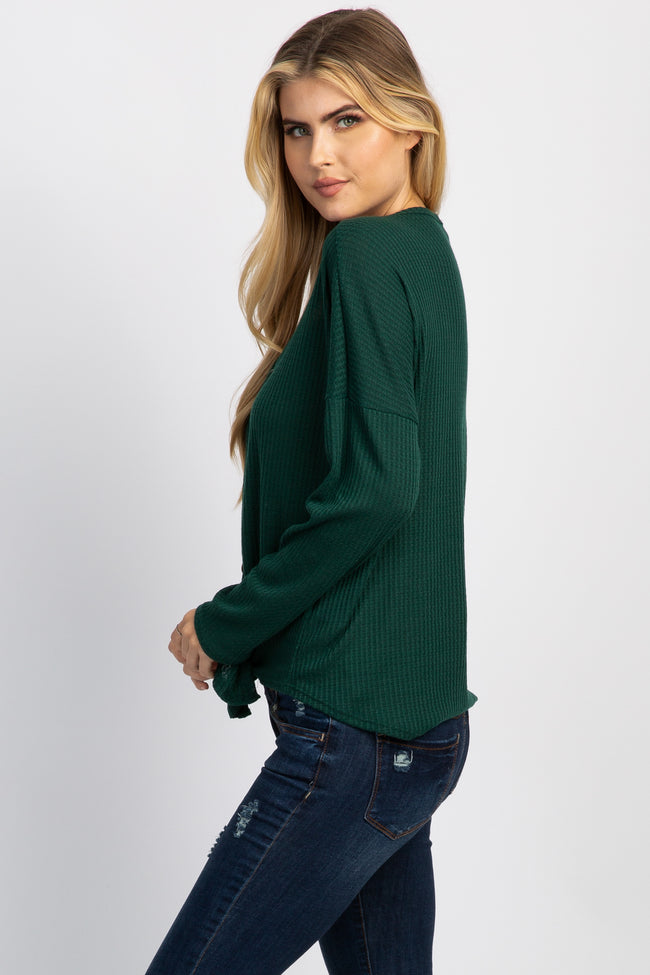 Green Waffle Knit Button Tie Front Top