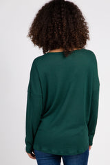 Green Waffle Knit Button Tie Front Maternity Top