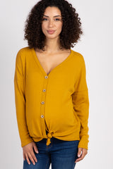 Mustard Waffle Knit Button Tie Front Maternity Top