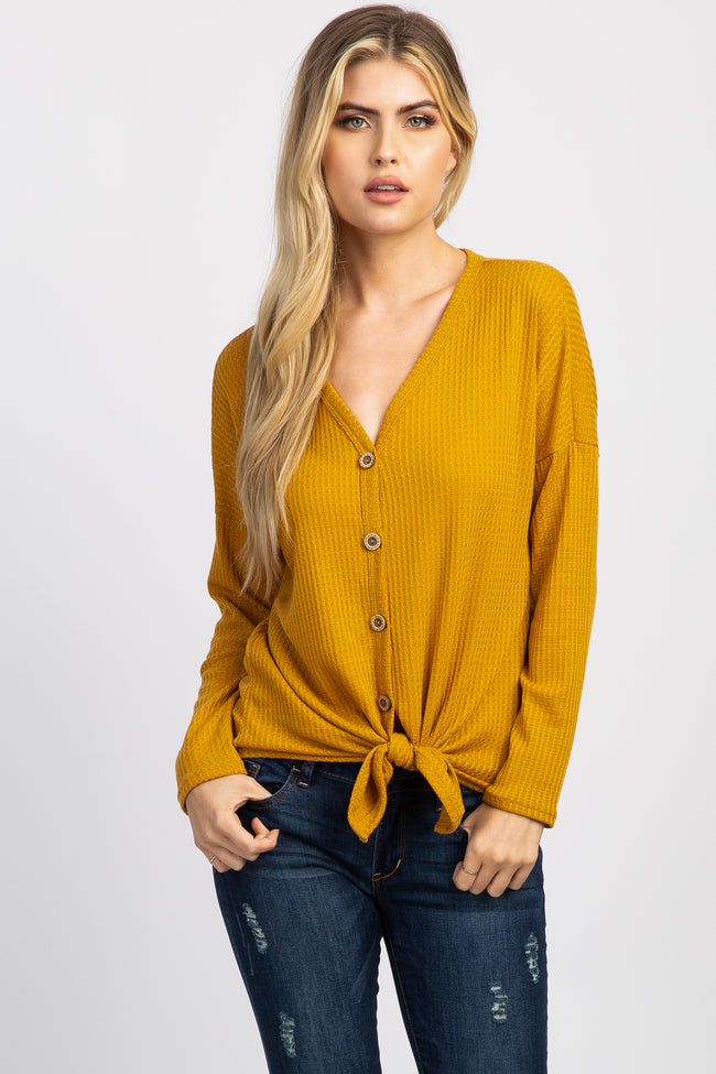 Mustard Waffle Knit Button Tie Front Top