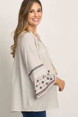 Taupe Striped Tassel Tie Embroidered Bell Sleeve Maternity Top