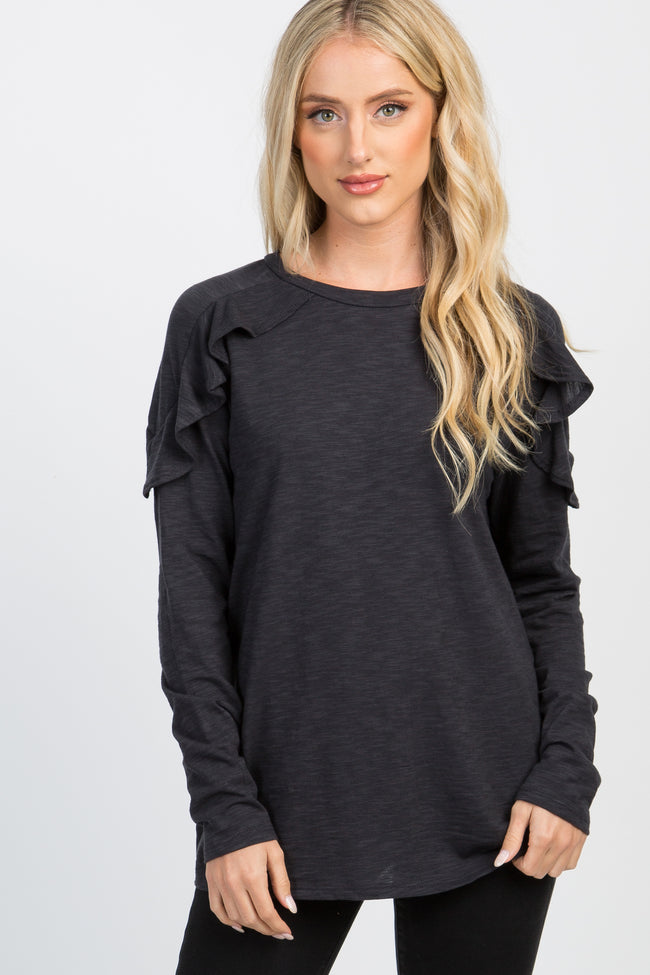 Charcoal Heathered Long Sleeve Ruffle Accent Top
