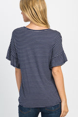 Navy Striped Button Down Tie Front Top