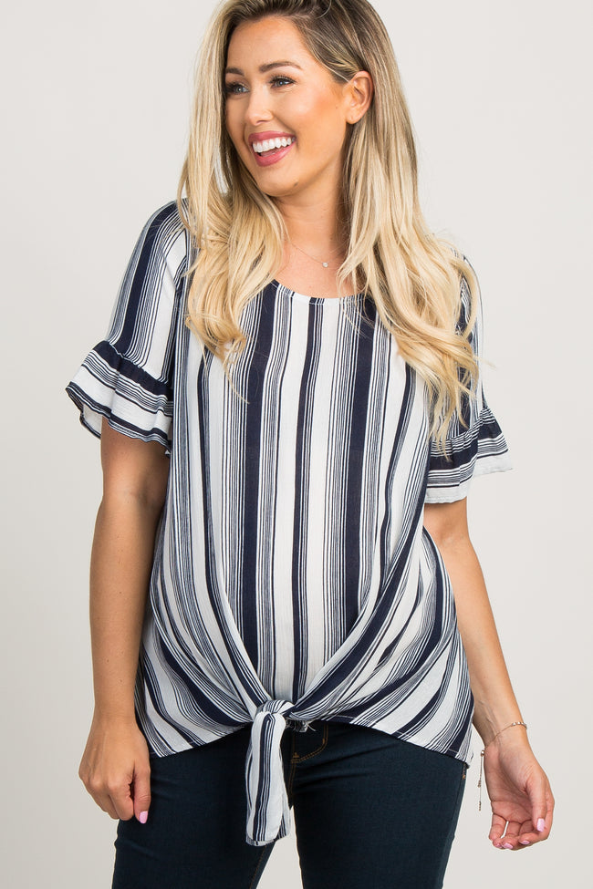 Navy Blue Striped Tie Front Ruffle Sleeve Maternity Top