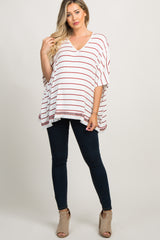 Ivory Striped Embroidered Fringe Trim Maternity Top