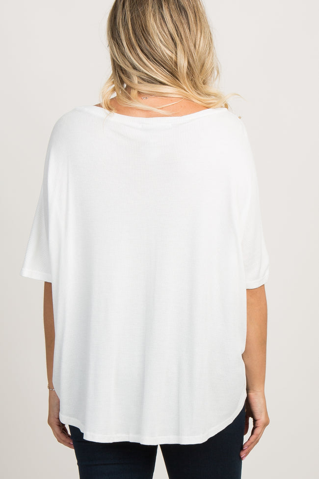 White Knit Button Front Maternity Top