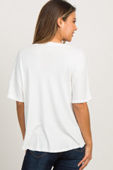 White Knit Button Front Top