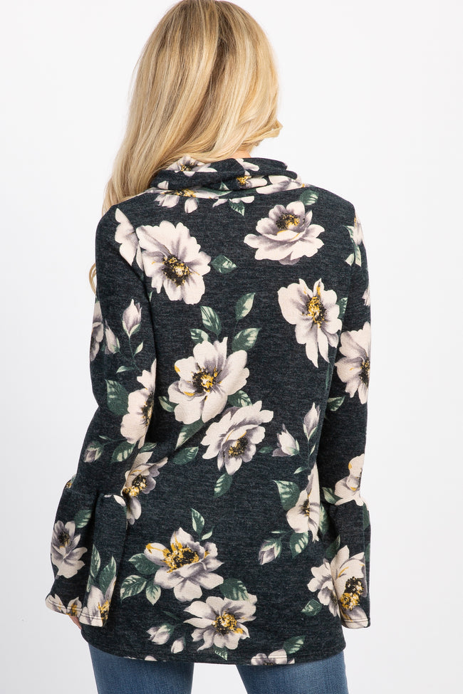 Green Floral Cowl Neck Ruffle Sleeve Maternity Top