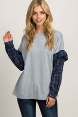 Navy Plaid Ruffle Long Sleeve Maternity Top