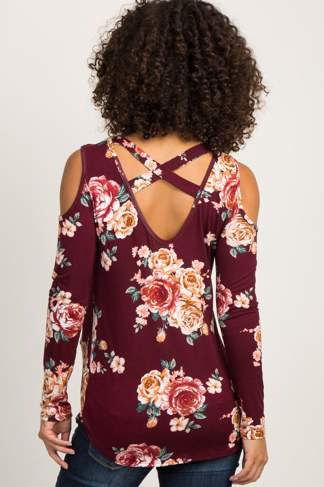 Burgundy Floral Cold Shoulder Long Sleeve Crisscross Back Maternity Top