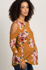 Marigold Floral Cold Shoulder Crisscross Back Maternity Top
