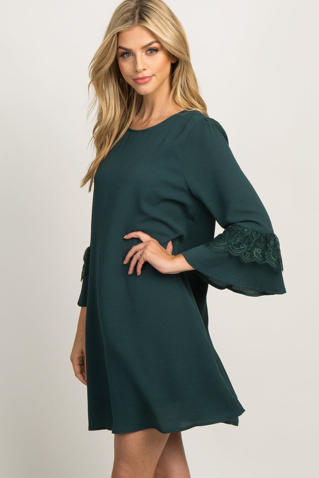 Forest Green Lace Sleeve Dress
