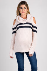 Light Pink Colorblock Cowl Neck Maternity Sweater
