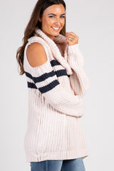 Light Pink Colorblock Cowl Neck Sweater