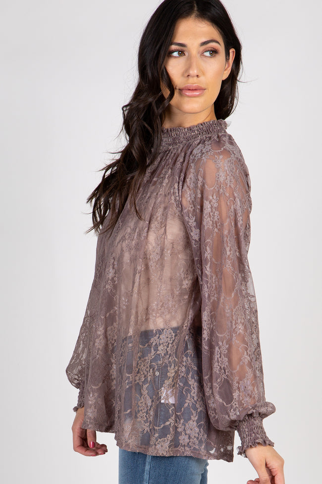 Mocha Floral Lace Mock Neck Blouse